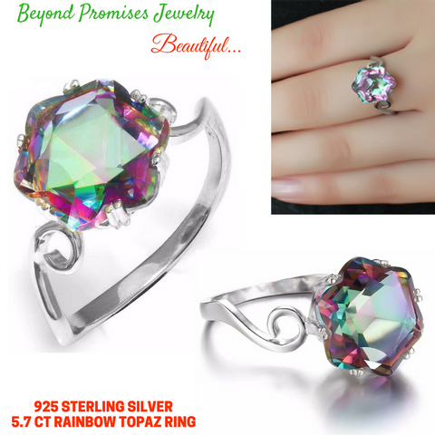 5.7ct Genuine Rainbow Fire Mystic Topaz Ring In Solid 925 Sterling Silver