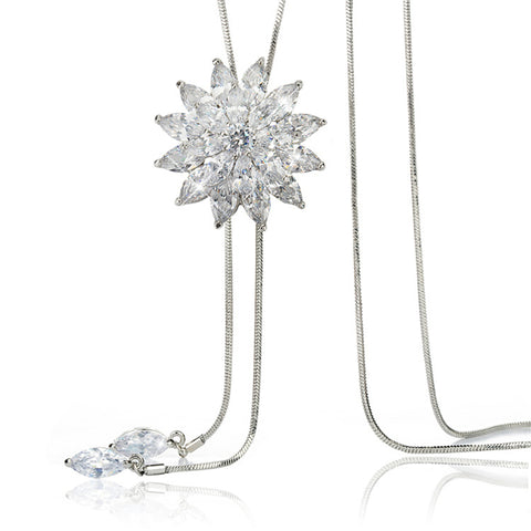 Gorgeous Trendy Long Statement Crystal Necklace