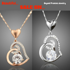 Rose Gold Stellux Austrian Swarovski Crystal Heart Pendant Necklace
