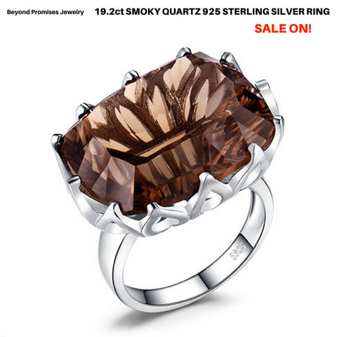 Huge Gorgeous Unique 19.4ct Smoky Quartz Ring in Solid 925 Sterling Silver