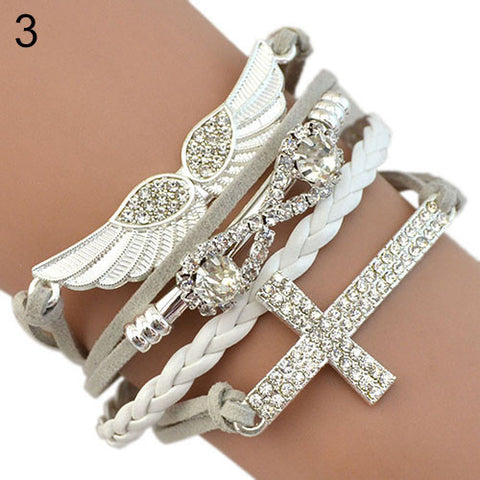 FREE New DIY Leather Cross Infinity Angel's Wing Crystal Charm Bracelet