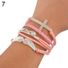 Image of FREE New DIY Leather Cross Infinity Angel's Wing Crystal Charm Bracelet