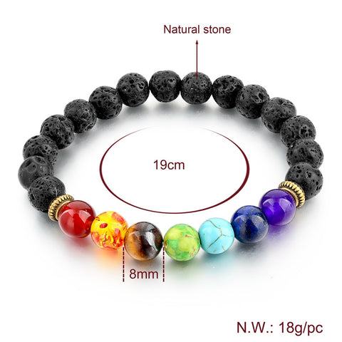Charm Bracelets - 7 Chakra Genuine Gemstone Healing Reiki Yoga Mantra Bracelet For Men & Women