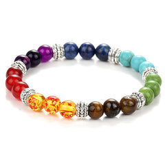 7 Chakra Genuine Gemstone Healing Reiki Yoga Mantra Bracelet For Men & Women