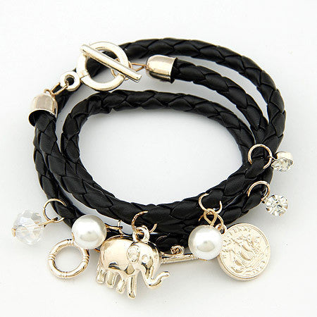Beautiful Women Bijoux Elephant Lucky Charm Braided Bracelets
