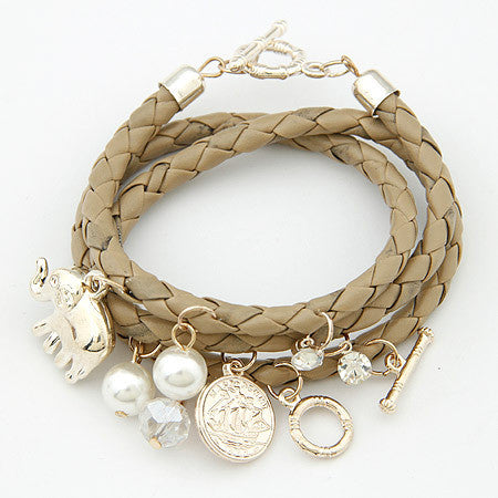 Charm Bracelets - Beautiful Women Bijoux Elephant Lucky Charm Braided Bracelets