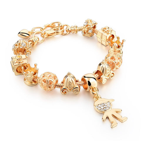 Charm Bracelets - Gorgeous Gold Heart Charm Bracelets With Snake Chain