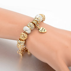Gorgeous Gold Heart Charm Bracelets With Snake Chain