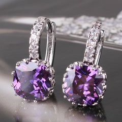 Earrings - Absolutely GORGEOUS 18k White Gold Purple Swarovski Crystal Earrings- FREE Shipping