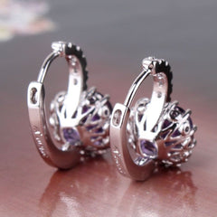 Absolutely GORGEOUS 18k White Gold Purple Swarovski Crystal Earrings- FREE Shipping