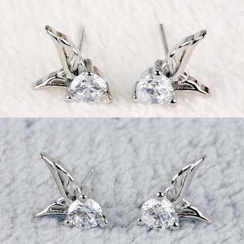 "Earrings - **FREE** HOT SELLER 925 STERLING SILVER ""ANGEL WINGS CRYSTAL STUD EARRINGS"""