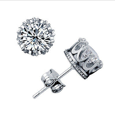 Earrings - **FREE** Women's Fashion 925 Sterling Silver Cubic Zirconia Royal Stud Earrings