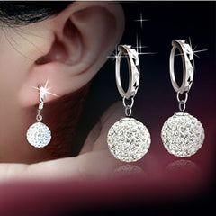 GORGEOUS 18K WHITE GOLD SWAROVSKI CRYSTAL HOOP EARRINGS- FREE SHIPPING