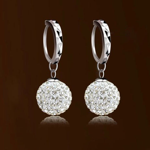 Earrings - GORGEOUS 18K WHITE GOLD SWAROVSKI CRYSTAL HOOP EARRINGS- FREE SHIPPING