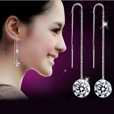 Hot Selling Stunning New Women's 925 Sterling Silver Plated Rhinestone Drop Dangle Chain Earring- FREE SHIPPING!