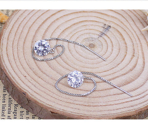 Earrings - Hot Selling Stunning New Women's 925 Sterling Silver Plated Rhinestone Drop Dangle Chain Earring- FREE SHIPPING!