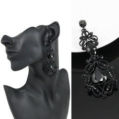 Stunning Ethnic Vintage Austrian Rhinestone Crystal Long Black/ White Dangle Earrings For Women