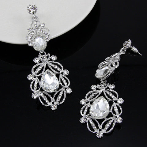 Earrings - Stunning Ethnic Vintage Austrian Rhinestone Crystal Long Black/ White Dangle Earrings For Women