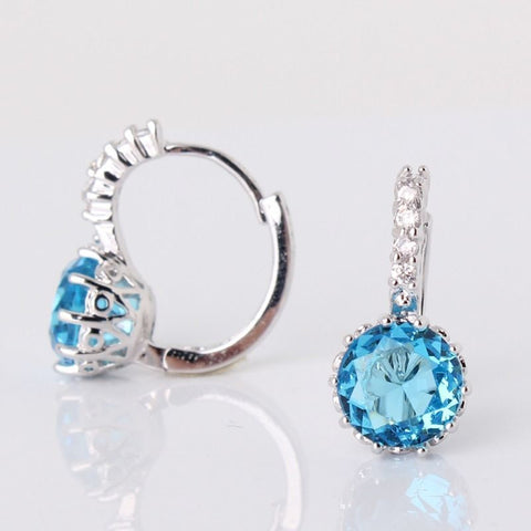 Earrings - STUNNING NEW 18K WHITE GOLD LIGHT BLUE SAPPHIRE HOOP EARRINGS- FREE SHIPPING!