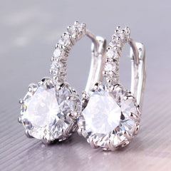 Earrings - STUNNING NEW 18K WHITE GOLD WHITE SWAROVSKI CRYSTAL HOOP EARRINGS- FREE SHIPPING!