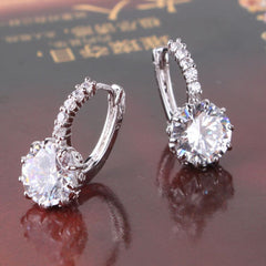 STUNNING NEW 18K WHITE GOLD WHITE SWAROVSKI CRYSTAL HOOP EARRINGS- FREE SHIPPING!