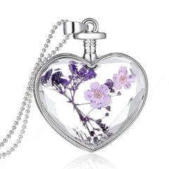 Family Love - BEAUTIFUL Trendy Purple Dry Flower Glass Lovers Heart Necklace- FREE SHIPPING!!
