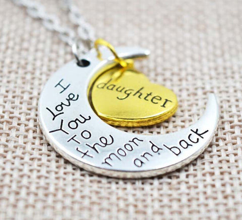 Family Love - Charm Family Gift Personal I LOVE YOU TO THE MOON AND BACK Pendant Necklace- FREE SHIPPING!!