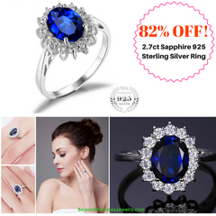Gorgeous Royalty Inspired 2.7ct Blue Sapphire 925 Sterling Silver Engagement Ring