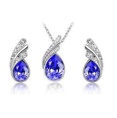 ANGEL TEAR DROP AUSTRIAN CRYSTAL PENDANT NECKLACE AND EARRING GIFT SET- FREE Shipping