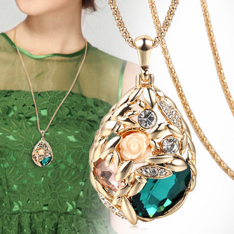 Pendants & Necklaces - Classy 18 K Gold Plated Crystal Rhinestone Angel Tear Drop Necklace- FREE SHIPPING