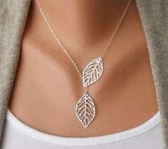 Simple Elegant Two Leaves Shape Women Charm Necklace