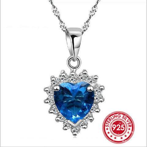 Pendants & Necklaces - My Heart Is With You Austrian Crystal Sapphire Pendant Pure Solid 925 Sterling Silver Jewelry