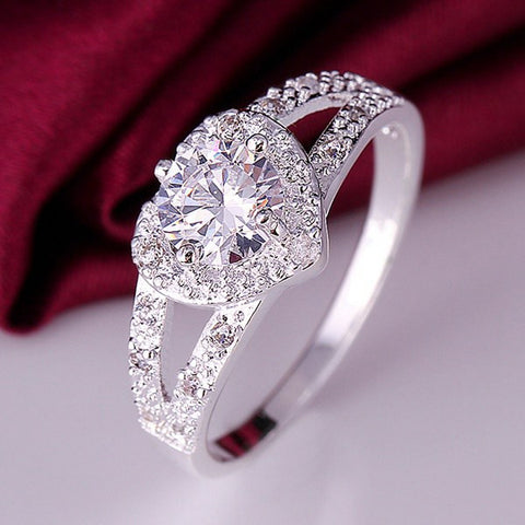 "Rings - BEAUTIFUL ""LOVE IS FOREVER"" WEDDING CRYSTAL CZ RING US SIZES 7 & 8- FREE SHIPPING!!"