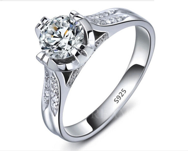 Beautiful Platinum Filled 925 Sterling Silver Wedding Ring With