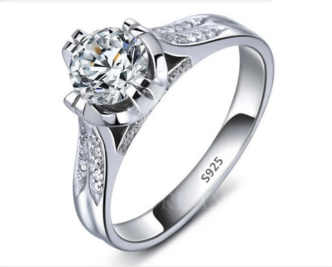 Beautiful Platinum Filled 925 Sterling Silver Wedding Ring With Sparkling CZ Diamonds (US 6-9) FREE Shipping