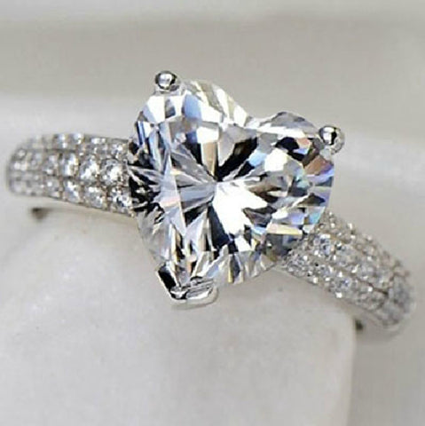 Beautiful Silver And Platinum Filled Wedding Heart Ring With 3 Carat CZ Diamond US 5-9 (UK K-S)