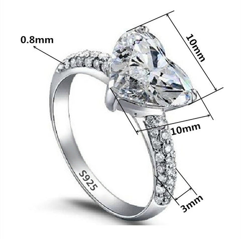 Rings - Beautiful Silver And Platinum Filled Wedding Heart Ring With 3 Carat CZ Diamond US 5-9 (UK K-S)