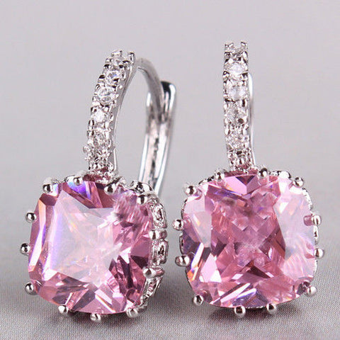Rings - DELUXE 18K WHITE GOLD PRINCESS PINK SWAROVSKI CRYSTAL EARRING
