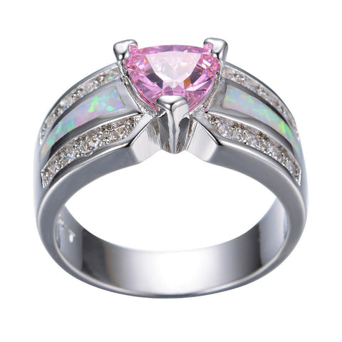 Elegant Pink Heart Sapphire Opal White Gold Filled Wedding Ring For Women US 5-11 (UK J1/2-V1/2)