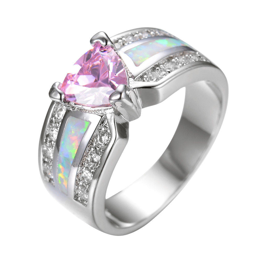 myshoplah ring rings heart cubic promise shaped cute pink zirconia