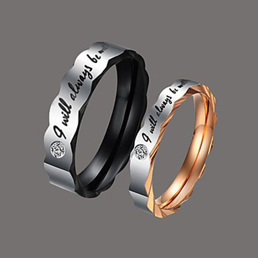 ladies stainless wedding steel ring endless titanium bands unique p mens for couple promise pretty matching love rings men set