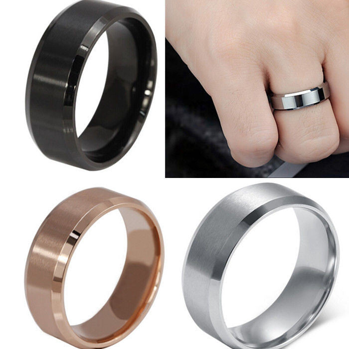 8 mm Stainless Steel Unisex Wedding Band Silver Black Gold Rose Gold