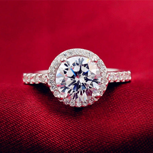 925 Silver Plated Gorgeous CZ Ring Finger Band Valentine Wedding
