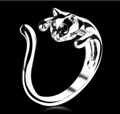 Cuddly Cute Silver Plated Cat Ring