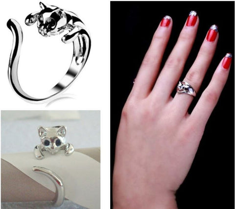 Rings - **FREE** Cuddly Cute Silver Plated Cat Ring 3