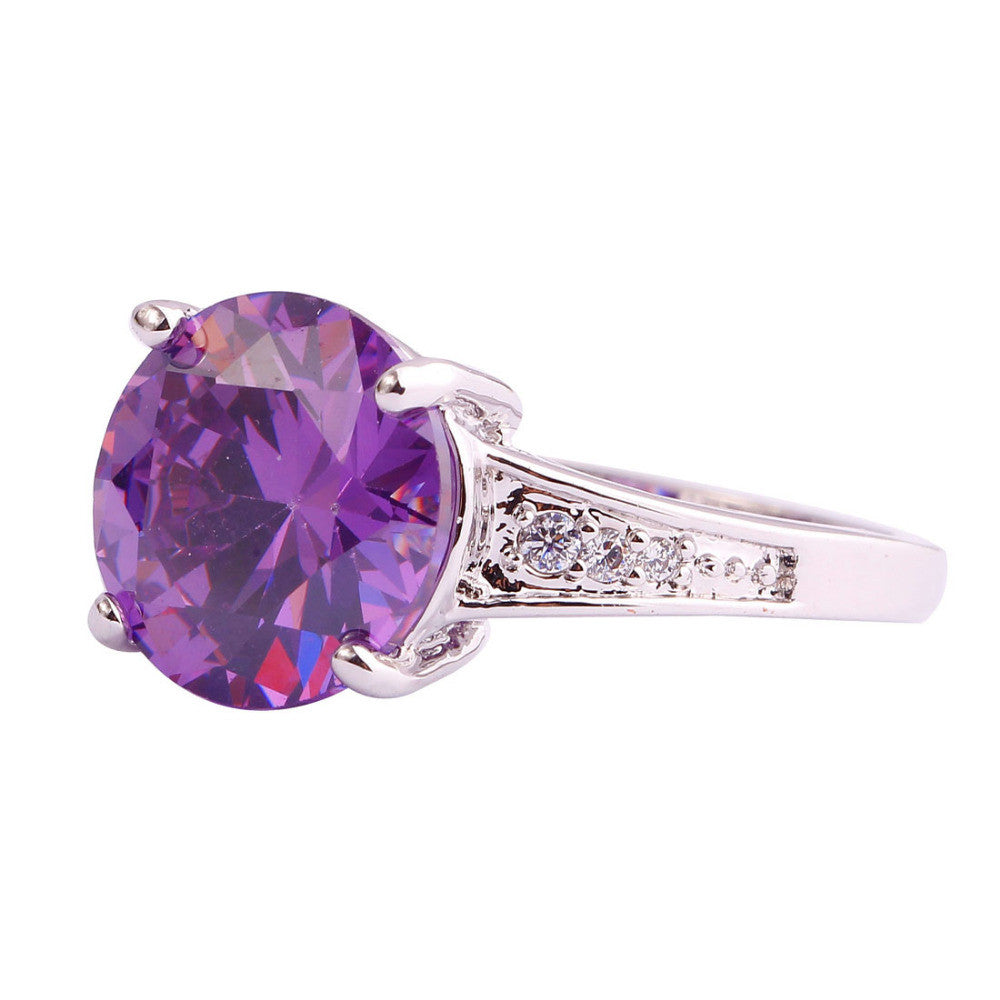 matching rings purple jewelry solid stacking white gold gem ring wedding amethyst band stone