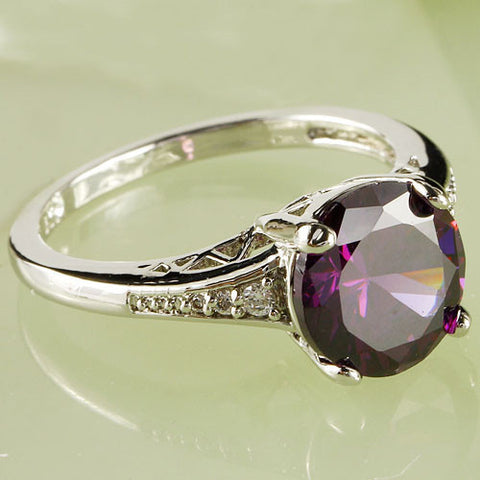 Rings - **FREE SHIPPING** STUNNING 925 STERLING SILVER PLATED ROMANTIC SOLITAIRE PURPLE AMETHYST WEDDING RING US SIZES 6 -12