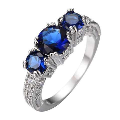 GORGEOUS 5.0 CT BLUE SAPPHIRE SILVER ENGAGEMENT RING 10KT WHITE GOLD FILLED US 5-12 (UK J1/2-Y)
