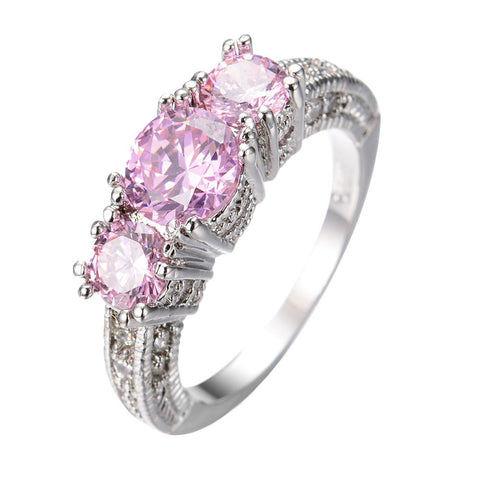 GORGEOUS 5.0 CT PINK SAPPHIRE SILVER ENGAGEMENT RING 10KT WHITE GOLD FILLED US 5-12 (UK J1/2-Y)