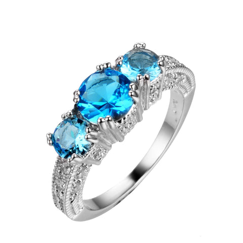 GORGEOUS AQUAMARINE SAPPHIRE SILVER ENGAGEMENT RING 10KT WHITE GOLD FILLED US 5-12 (UK J1/2-Y)